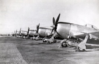 A row of P-47 Thunderbolts pictured at BAD-2.